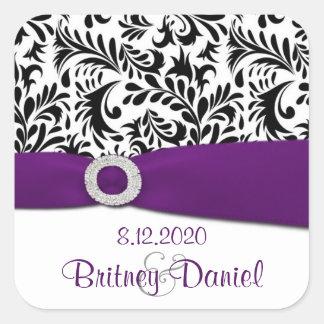 Schwarzer lila u. weißer Damast-Hochzeits-Umschlag Quadrat-Aufkleber