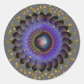 Schwarzer Lotos-Blumen-GoldConfetti Runder Aufkleber