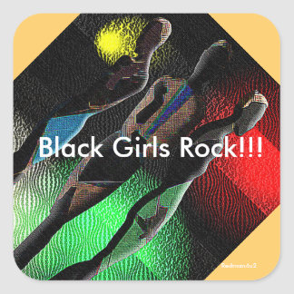Schwarzer Mädchen-Felsen! Quadratsticker