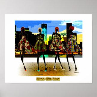 Schwarzer Mädchen-Felsen! Poster
