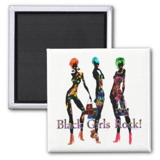 Schwarzer Mädchen-Felsen Quadratischer Magnet