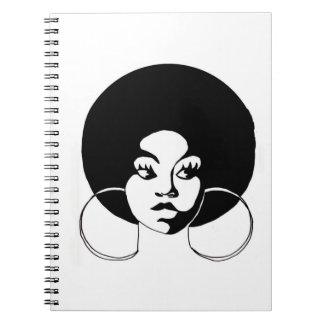 Schwarzer MädchenAfro Sistah gewundene Notizbücher