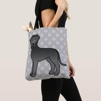 Schwarzer Mantel-Farbgroßer Däne-Cartoon-Hund Tasche