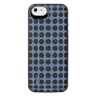 SCHWARZER MARMOR CIRCLES1 U. BLAUES DENIM (R) iPhone SE/5/5s BATTERIE HÜLLE