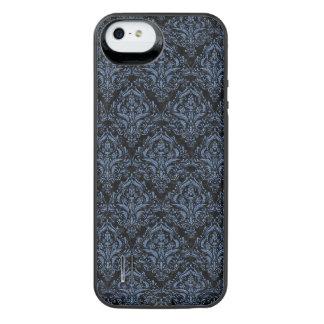 SCHWARZER MARMOR DAMASK1 U. BLAUES DENIM iPhone SE/5/5s BATTERIE HÜLLE