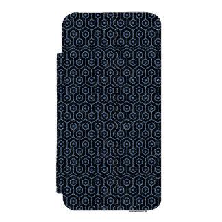 SCHWARZER MARMOR HEXAGON1 U. BLAUES DENIM INCIPIO WATSON™ iPhone 5 GELDBÖRSEN HÜLLE