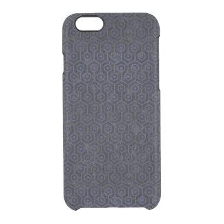 SCHWARZER MARMOR HEXAGON1 U. BLAUES LEDER DURCHSICHTIGE iPhone 6/6S HÜLLE