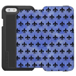 SCHWARZER MARMOR ROYAL1 U. BLAUES AQUARELL INCIPIO WATSON™ iPhone 6 GELDBÖRSEN HÜLLE