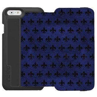 SCHWARZER MARMOR ROYAL1 U. BLAUES LEDER INCIPIO WATSON™ iPhone 6 GELDBÖRSEN HÜLLE