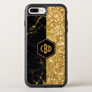 Schwarzer Marmor-u. GoldGlitter-Entwurf OtterBox Symmetry iPhone 8 Plus/7 Plus Hülle