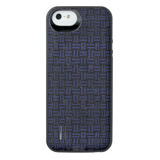 SCHWARZER MARMOR WOVEN1 U. BLAUES LEDER iPhone SE/5/5s BATTERIE HÜLLE