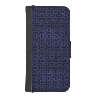 SCHWARZER MARMOR WOVEN1 U. BLAUES LEDER (R) iPhone SE/5/5s GELDBEUTEL HÜLLE