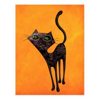 Schwarzer mexikanischer Tag der toten Katze Postkarte