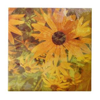 Schwarzer mit Augen Susans Wildblume-abstrakter Keramikfliese