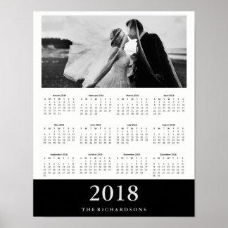 Schwarzer moderner minimaler Foto-Kalender 2018 Poster