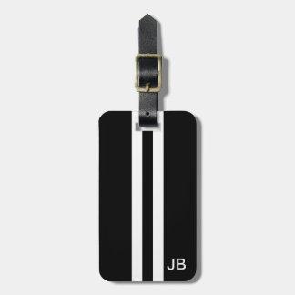 Schwarzer Monogramm-Gepäckanhänger mit weißen Koffer Anhänger