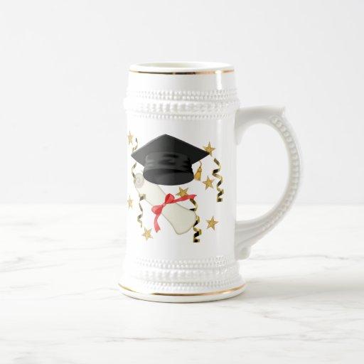 Schwarzer Mörser-und Diplom-Abschluss Kaffee Tassen