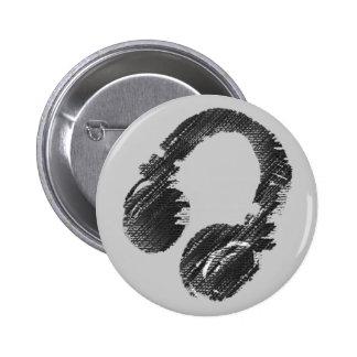 schwarzer Musikdiskjockeykopfhörer Runder Button 5,7 Cm