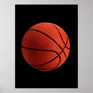Schwarzer orange Basketball Poster