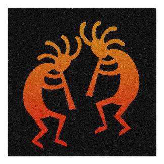 Schwarzer orange Kokopelli südwestlicher Entwurf Poster