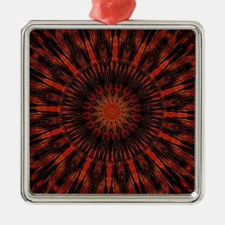 Schwarzer orange Rot-kaleidoskopischer Entwurf Silbernes Ornament