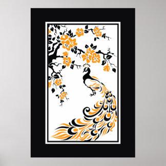 Schwarzer, orange, weißer Pfau und Kirschblüten Poster