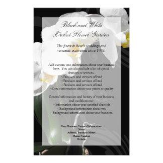 Schwarzer Orchideen-Flyer, Wedding Programm, Menü