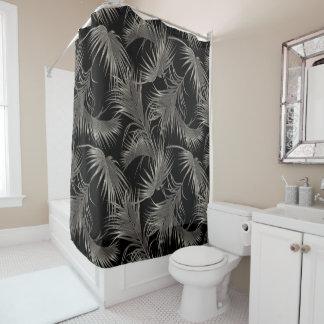 Schwarzer Palmen-Luxe Blick-tropisches Muster Duschvorhang