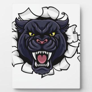 Schwarzer Panther-Baseball-Maskottchen, das Fotoplatte