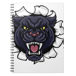 Schwarzer Panther-Baseball-Maskottchen, das Notizblock