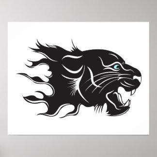 Schwarzer Panther-blaue Augen Poster