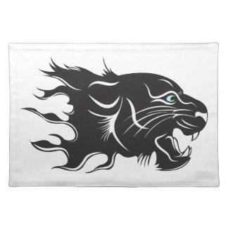 Schwarzer Panther-blaue Augen Tischset