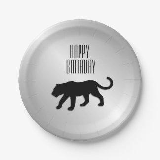 Schwarzer Panther-Gewohnheits-Party Pappteller