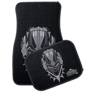 Schwarzer Panther-Kopf-Emblem des schwarzen Autofußmatte