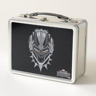 Schwarzer Panther-Kopf-Emblem des schwarzen Metall Brotdose