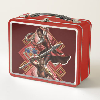 Schwarzer Panther | Nakia u. Okoye Wakandan Grafik Metall Lunch Box