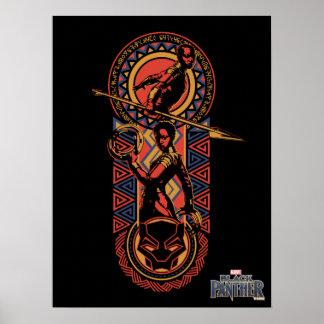 Schwarzer Panther | Okoye u. Nakia Wakandan Platte Poster