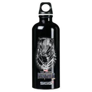 Schwarzer Panther | schwarze u. weiße Hauptskizze Aluminiumwasserflasche