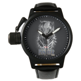 Schwarzer Panther | schwarze u. weiße Hauptskizze Armbanduhr