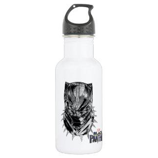 Schwarzer Panther | schwarze u. weiße Hauptskizze Edelstahlflasche