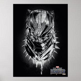 Schwarzer Panther | schwarze u. weiße Hauptskizze Poster
