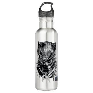 Schwarzer Panther | schwarze u. weiße Hauptskizze Trinkflasche