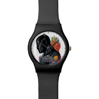 Schwarzer Panther-Stammes- Graffiti des schwarzen Armbanduhr
