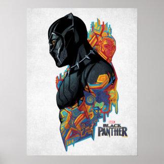 Schwarzer Panther-Stammes- Graffiti des schwarzen Poster