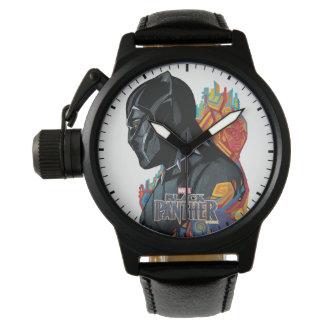 Schwarzer Panther-Stammes- Graffiti des schwarzen Uhr