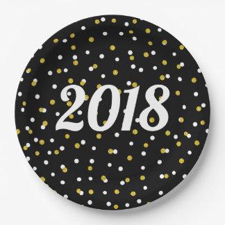 Schwarzer Partydekor des neuen Jahres GoldGlitter Pappteller