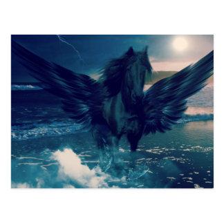 Schwarzer Pegasus, der vom Meer auftaucht Postkarte