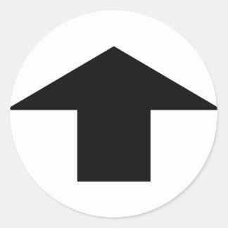 schwarzer Pfeil oben Runder Sticker