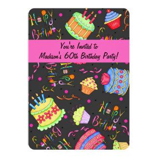 Schwarzer Pink-Kuchen-60. Geburtstags-Einladung Karte