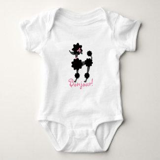 Schwarzer Pudel Bonjour Säuglings-Strampler Shirts